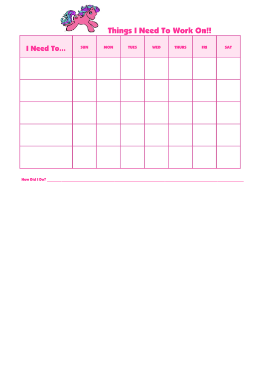 Things I Need To Work On My Little Pony Template Printable pdf