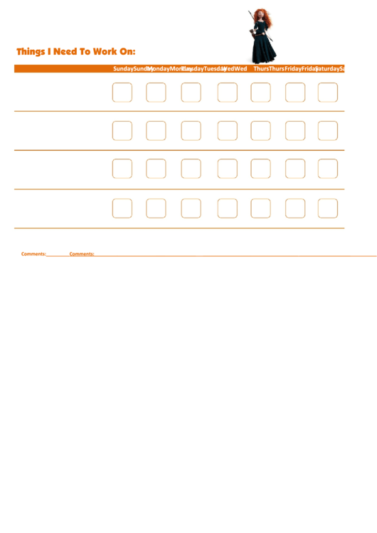Things I Need To Work On - Behavior Chart Template - Princess Merida Printable pdf