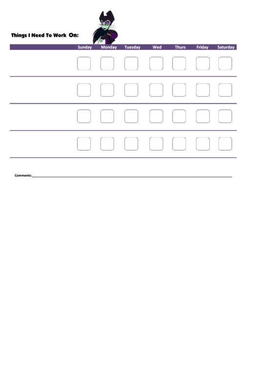 Things I Need To Work On - Behavior Chart Template - Maleficent Printable pdf