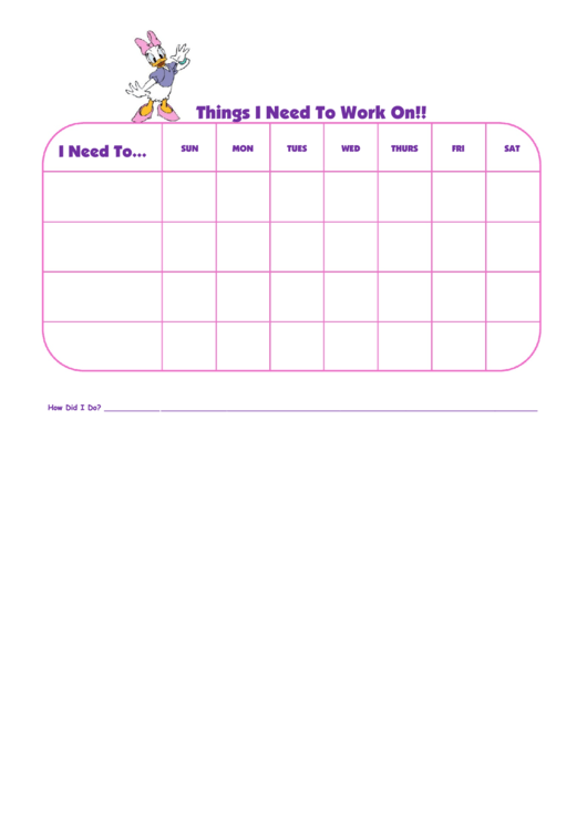 Things I Need To Work On Daisy Duck Template Printable pdf