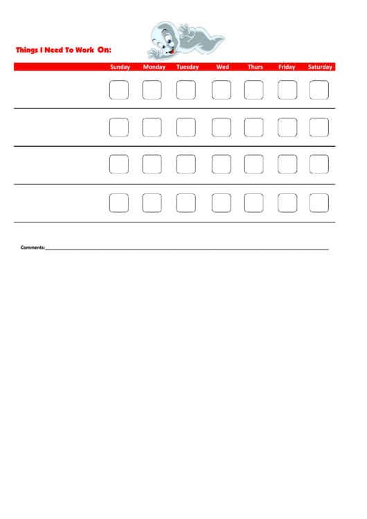 Things I Need To Work On - Behavior Chart Template - Casper Printable pdf