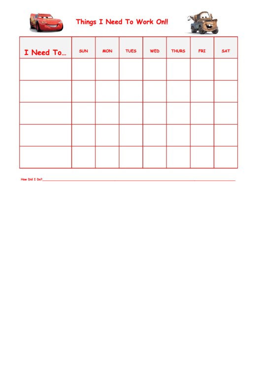 Things I Need To Work On Cars Template Printable pdf