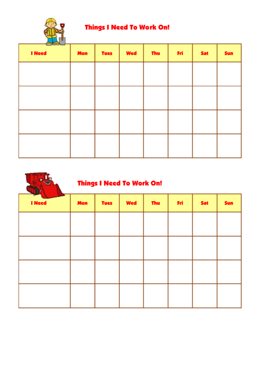 Things I Need To Work On Template - Bob The Builder Printable pdf