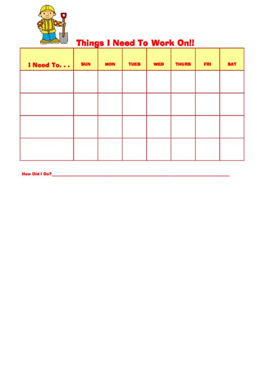 Things I Need To Work On Behaviour Chart - Bob The Builder Printable pdf