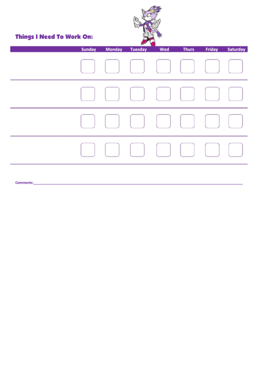 Things I Need To Work On - Behavior Chart Template - Blaze The Cat Printable pdf