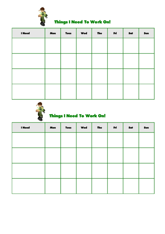 Things I Need To Work On Template - Ben 10 Printable pdf