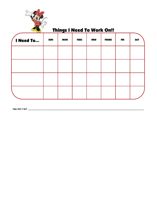 Things I Need To Work On Minnie Mouse Template Printable pdf