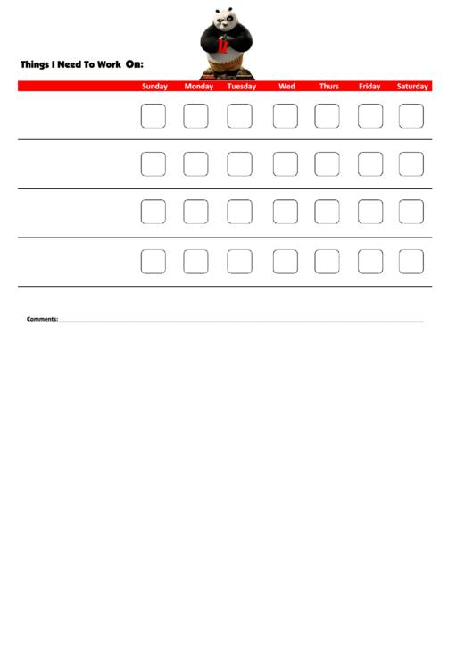 Things I Need To Work On - Behavior Chart Template - Kung Fu Panda Printable pdf