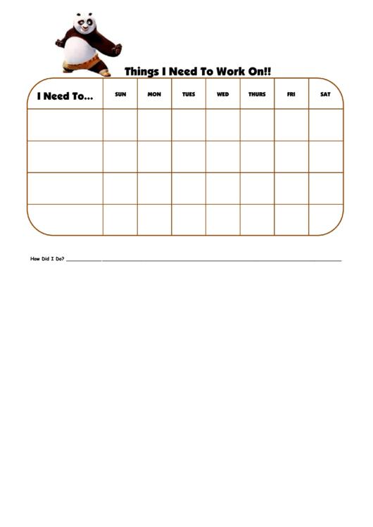 Things I Need To Work On Kung Foo Panda Template Printable pdf