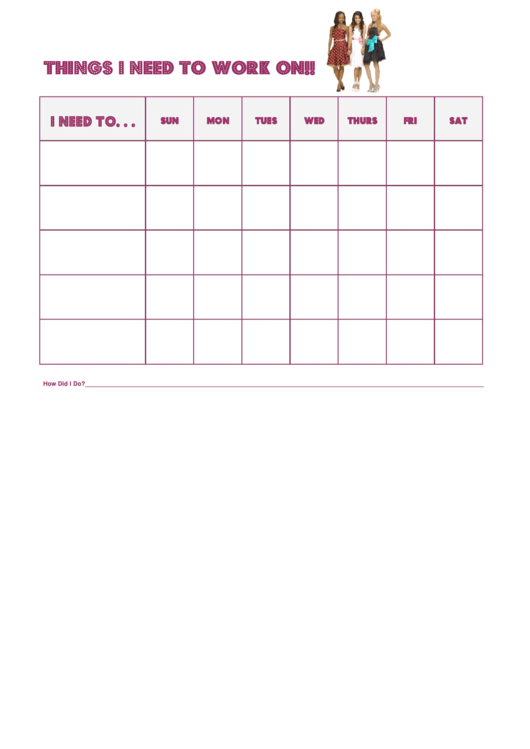 Things I Need To Work On Behaviour Chart - High School Musical Girls Printable pdf