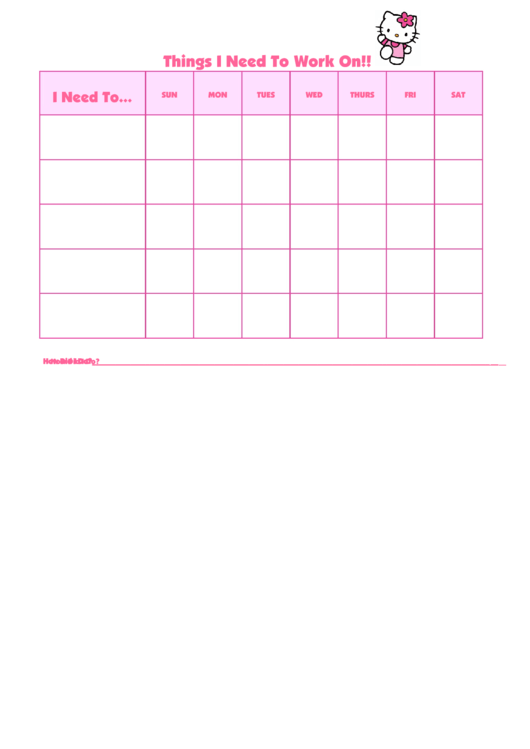 Things I Need To Work On Hello Kitty2 Template Printable pdf