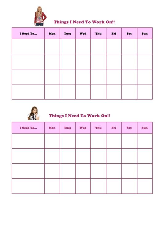 Things I Need To Work Template - Hanna Montana Printable pdf