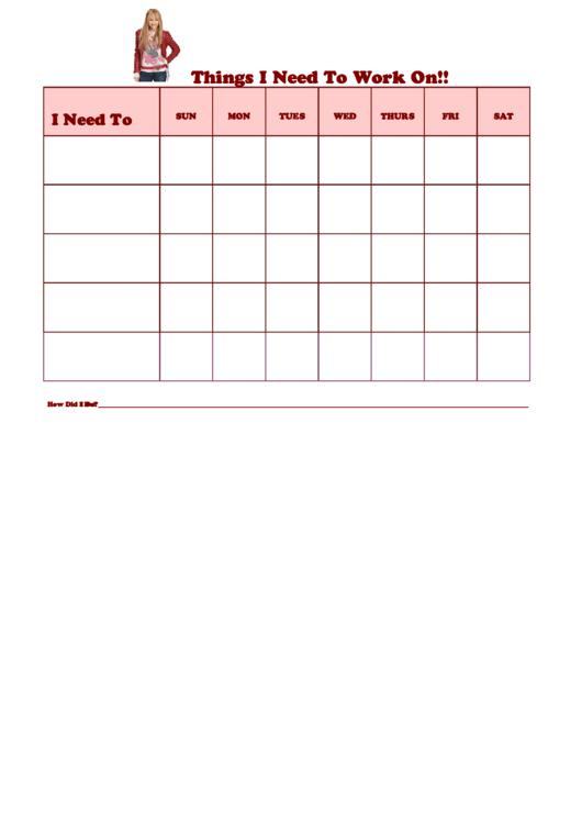 Things I Need To Work On Behaviour Chart - Hannah Montana Printable pdf