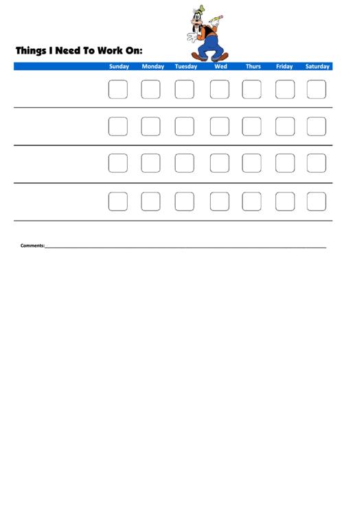 Things I Need To Work On - Behavior Chart Template - Goofy Printable pdf