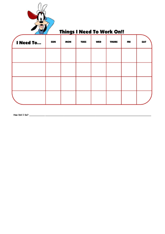 Things I Need To Work On Goofy Template Printable pdf