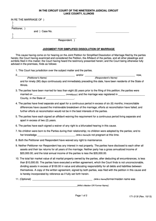 Fillable Judgment For Dissolution Of Marriage Form - Lake County, Illinois Printable pdf