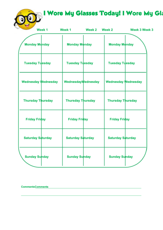 I Wore My Glasses Today! Chart Printable pdf