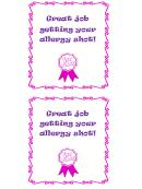 Allergy Shot Reward Chart Sticker Template