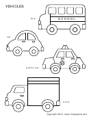 Vehicles Template - Bus, Car, Police Car, Truck
