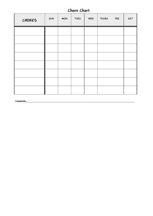 older child lined chore chart