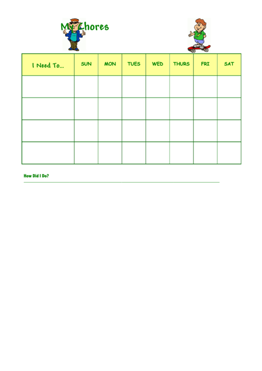 Cool Kid Chore Chart Template