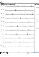 Multiplying With A Numberline - Math Worksheet With Answer Key