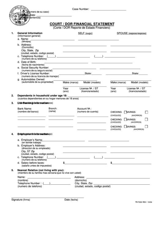 Form Tr-7000 - Court / Dor Financial Statement