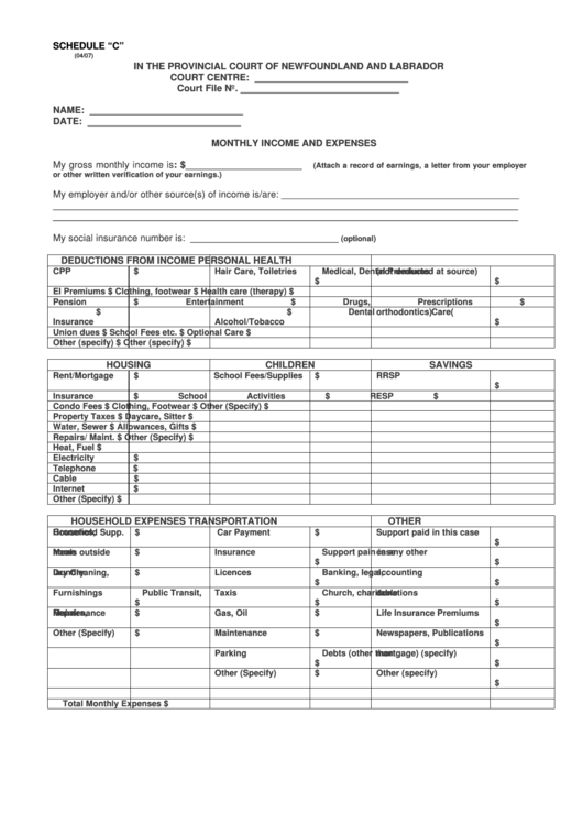 Monthly Income And Expenses Form