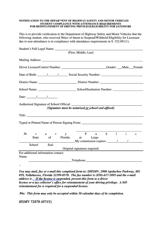 Form hsmv 72870 student compliance with attendance for Florida highway safety and motor vehicles phone number