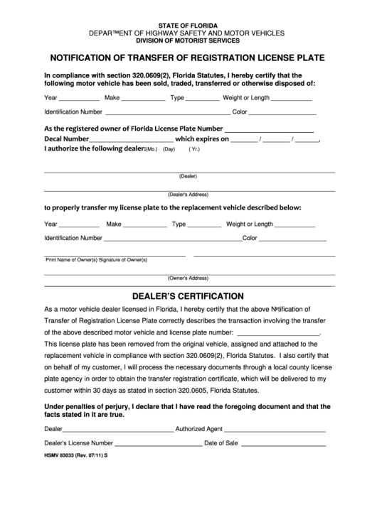 Fillable Form Hsmv 83033 Notification Of Transfer Of Registration License Plate Printable Pdf