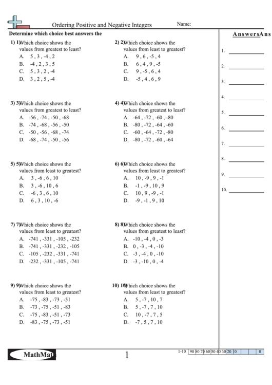 Ordering Positive And Negative Integers Worksheet