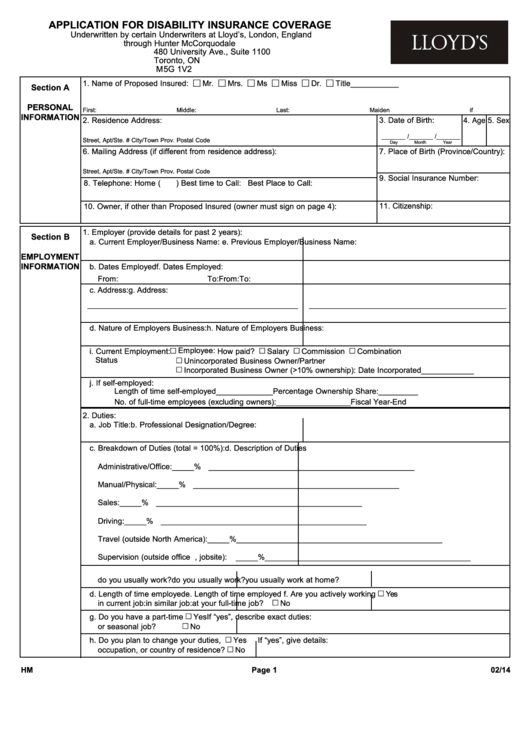 Application Form - Disability Coverage