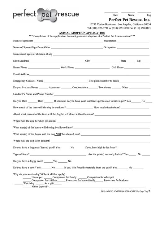 animal adoption application form printable pdf download