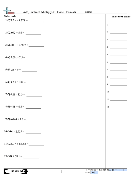 add subtract multiply divide decimals worksheet printable pdf download. Black Bedroom Furniture Sets. Home Design Ideas