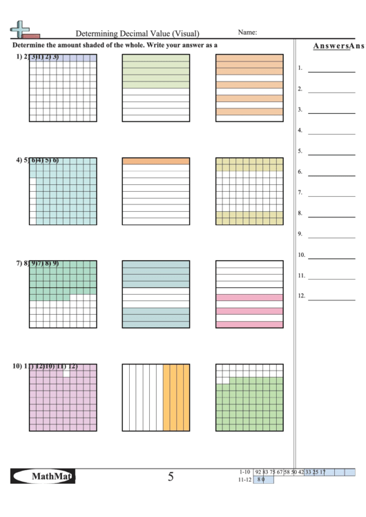 determining decimal value visual worksheet with answer key printable pdf download. Black Bedroom Furniture Sets. Home Design Ideas