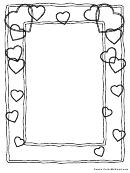 Valentine's Day Monochrome Hearts Border Template
