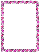 Valentine's Day Pink Hearts Page Border Template