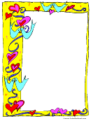 Valentine's Day Yellow Page Border Template
