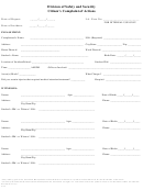 Division Of Safety And Security Citizen's Complaint Of Actions Form