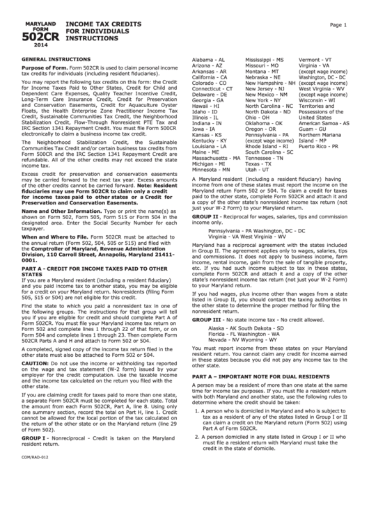 Instruction For Form 502cr, Form Com/rad-012 - Income Tax Credits ...