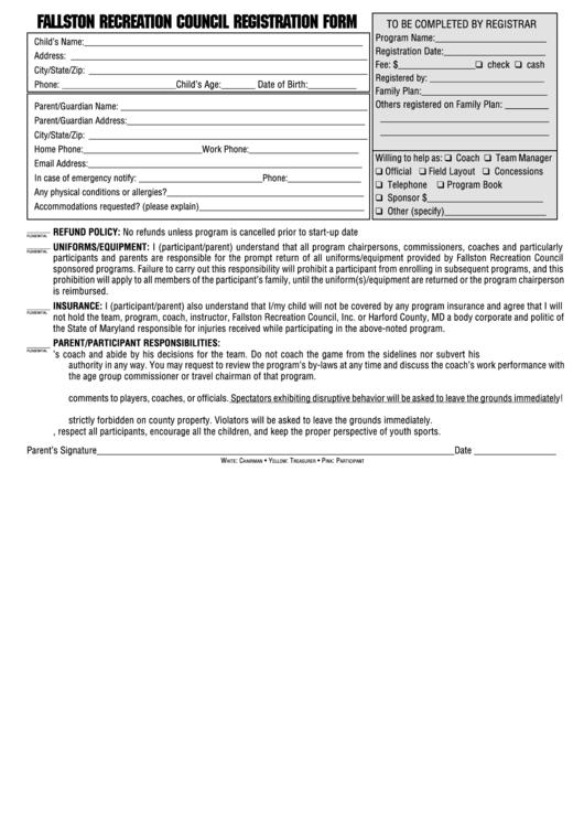 Council Registration Form Printable pdf