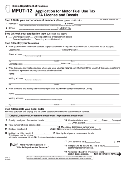 Form Mfut 12 Application For Motor Fuel Use Tax Ifta License And Decals January 2005 Printable