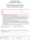 Form Dss-180 - Declaration Of Removal Of All Hard Drives And Other Data Storage Devices On Surplus Computer And Other Electronic Devices - New Jersey Department Of Treasury