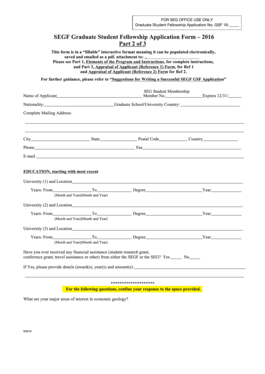Segf Graduate Student Fellowship Application Form