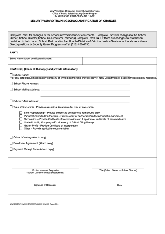 Security Guard Training School Notification Of Changes Form