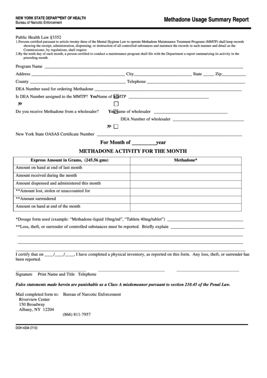 Form Doh-4334 - Methadone Usage Summary Report - Bureau Of Narcotic Enforcement Of New York State Department Of Health
