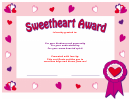 Sweetheart Award Template