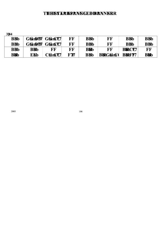 Jazz Chord Chart - The Star Spangled Banner Printable pdf