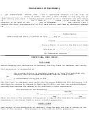 Declaration Of Candidacy Template
