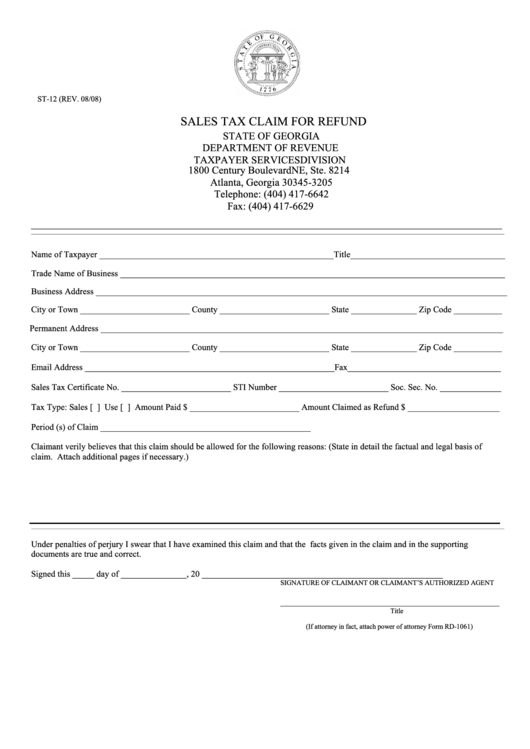 Fillable form st 12 sales tax claim for refund printable for Nebraska certificate of organization template